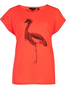 Dallis Bird Hop T Shirt, Bright Red - neckline: round neck; style: t-shirt; predominant colour: bright orange; occasions: casual, holiday; length: standard; fibres: polyester/polyamide - 100%; fit: straight cut; bust detail: contrast pattern/fabric/detail at bust; sleeve length: short sleeve; sleeve style: standard; pattern type: fabric; pattern size: standard; pattern: patterned/print; texture group: jersey - stretchy/drapey