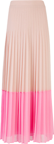 Petrus Colour Block Maxi Skirt, Pale Pink - fit: loose/voluminous; waist: mid/regular rise; predominant colour: blush; occasions: casual, evening, work, occasion, holiday; length: floor length; style: maxi skirt; fibres: polyester/polyamide - 100%; hip detail: structured pleats at hip; waist detail: narrow waistband; texture group: sheer fabrics/chiffon/organza etc.; trends: fluorescent; pattern type: fabric; pattern size: small &amp; light; pattern: colourblock