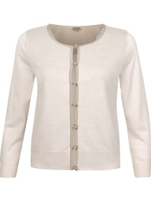 Silk Trim Cardigan - neckline: round neck; bust detail: buttons at bust (in middle at breastbone)/zip detail at bust; predominant colour: ivory; occasions: casual, work; length: standard; style: standard; fibres: wool - mix; fit: standard fit; sleeve length: long sleeve; sleeve style: standard; texture group: knits/crochet; pattern type: knitted - other; pattern size: standard