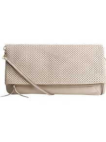 Penelope Clutch Bag - predominant colour: stone; occasions: casual, evening, occasion; style: clutch; length: hand carry; size: small; material: leather; pattern: plain; finish: plain