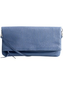 Penelope Clutch Bag - predominant colour: indigo; occasions: casual, evening, occasion; style: clutch; length: hand carry; size: small; material: leather; pattern: plain; finish: plain