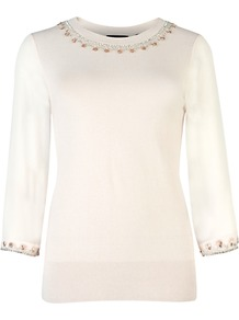 Mundia Embellished Jumper, Pale Pink - neckline: round neck; pattern: plain; bust detail: added detail/embellishment at bust; style: standard; hip detail: fitted at hip; shoulder detail: contrast pattern/fabric at shoulder; predominant colour: ivory; occasions: casual, evening, work; length: standard; fibres: cotton - mix; fit: standard fit; sleeve length: 3/4 length; sleeve style: standard; texture group: knits/crochet; pattern type: knitted - fine stitch; pattern size: small &amp; light; embellishment: beading