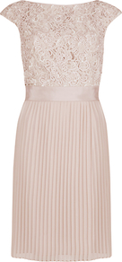 Lace Detail Pleated Dress - style: shift; neckline: slash/boat neckline; sleeve style: capped; fit: tailored/fitted; pattern: plain, patterned/print; waist detail: fitted waist, structured pleats at waist, narrow waistband; back detail: low cut/open back, embellishment at back; predominant colour: blush; occasions: evening, occasion; length: just above the knee; fibres: polyester/polyamide - mix; hip detail: structured pleats at hip; bust detail: contrast pattern/fabric/detail at bust; sleeve length: short sleeve; texture group: lace; pattern type: fabric; pattern size: standard