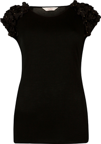 Flower Shoulder T Shirt, Black - sleeve style: capped; pattern: plain; style: t-shirt; predominant colour: black; occasions: casual, work; length: standard; fibres: viscose/rayon - 100%; fit: body skimming; neckline: crew; shoulder detail: added shoulder detail; sleeve length: short sleeve; texture group: jersey - clingy; pattern type: fabric; pattern size: small & light; embellishment: applique