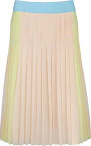 Colour Block Pleated Skirt - fit: loose/voluminous; style: pleated; waist detail: embellishment at waist/feature waistband; hip detail: fitted at hip; waist: mid/regular rise; predominant colour: nude; occasions: casual, evening, work, occasion, holiday; length: just above the knee; fibres: polyester/polyamide - 100%; texture group: sheer fabrics/chiffon/organza etc.; pattern type: fabric; pattern size: standard; pattern: colourblock