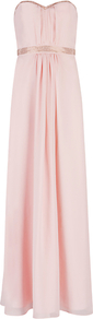 Foelee Stud Maxi Dress, Pale Pink - fit: empire; pattern: plain; sleeve style: sleeveless; style: maxi dress; waist detail: fitted waist; neckline: sweetheart; predominant colour: blush; occasions: evening, occasion; length: floor length; fibres: polyester/polyamide - 100%; hip detail: soft pleats at hip/draping at hip/flared at hip; sleeve length: sleeveless; texture group: sheer fabrics/chiffon/organza etc.; bust detail: tiers/frills/bulky drapes/pleats; pattern type: fabric; pattern size: standard