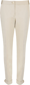 Tapered Buckle Trousers - length: standard; pattern: plain; waist: mid/regular rise; predominant colour: ivory; occasions: casual, evening, work; fibres: cotton - stretch; jeans & bottoms detail: turn ups; fit: tapered; pattern type: fabric; texture group: other - light to midweight; style: standard