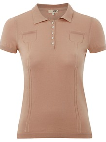 Nw3 Hobbs Polo Shirt - neckline: shirt collar/peter pan/zip with opening; pattern: plain; bust detail: buttons at bust (in middle at breastbone)/zip detail at bust; style: polo shirt; predominant colour: tan; occasions: casual, work, occasion, holiday; length: standard; fibres: cotton - 100%; fit: body skimming; sleeve length: short sleeve; sleeve style: standard; pattern type: fabric; pattern size: standard; texture group: jersey - stretchy/drapey