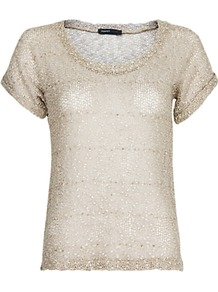 Glitter Knitted T Shirt - neckline: round neck; pattern: horizontal stripes; style: t-shirt; predominant colour: champagne; occasions: casual, evening, work; length: standard; fibres: polyester/polyamide - 100%; fit: body skimming; sleeve length: short sleeve; sleeve style: standard; texture group: knits/crochet; pattern type: knitted - fine stitch; pattern size: standard