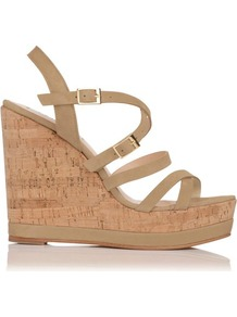 Nahoon Nubuck Strappy Wedge Taupe Light Taupe - predominant colour: camel; occasions: casual, occasion, holiday; material: suede; heel height: high; embellishment: buckles; ankle detail: ankle strap; heel: wedge; toe: open toe/peeptoe; style: strappy; finish: plain; pattern: plain