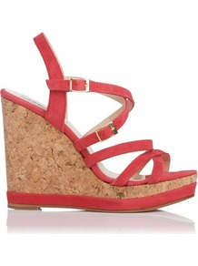 Nahoon Nubuck Strappy Wedge Red Currant - predominant colour: true red; occasions: casual, occasion, holiday; material: suede; heel height: high; embellishment: buckles; heel: wedge; toe: open toe/peeptoe; style: strappy; finish: plain; pattern: plain