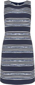 Adria Silk Stripe Print Shift Dress Blue - style: shift; length: mid thigh; neckline: round neck; pattern: horizontal stripes; sleeve style: sleeveless; predominant colour: navy; occasions: casual, evening, occasion; fit: body skimming; fibres: silk - 100%; sleeve length: sleeveless; texture group: silky - light; pattern type: fabric; pattern size: standard