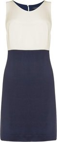 Limon Silk Color Block Dress Blue Navy - style: shift; neckline: round neck; sleeve style: sleeveless; predominant colour: navy; occasions: casual, work, occasion; length: just above the knee; fit: body skimming; fibres: silk - 100%; sleeve length: sleeveless; texture group: silky - light; pattern type: fabric; pattern: colourblock