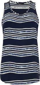 Adria Silk Stripe Print Vest Top Blue - neckline: round neck; sleeve style: standard vest straps/shoulder straps; pattern: horizontal stripes; style: vest top; predominant colour: navy; occasions: casual, evening, work, holiday; length: standard; fibres: silk - 100%; fit: body skimming; back detail: longer hem at back than at front; sleeve length: sleeveless; texture group: crepes; pattern type: fabric; pattern size: standard