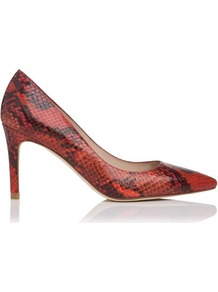Florete Printed Leather Court Shoe Red Berry - predominant colour: true red; occasions: evening, work, occasion; material: leather; heel height: high; heel: stiletto; toe: pointed toe; style: courts; finish: plain; pattern: animal print