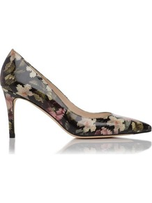 Florete Patent Leather Point Toe Court Shoe Multi - predominant colour: black; occasions: evening, work, occasion; material: leather; heel height: high; heel: stiletto; toe: pointed toe; style: courts; finish: patent; pattern: florals