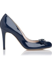 Shell Patent Leather Bow Detail Court Shoe Blue Navy - predominant colour: navy; occasions: evening, work, occasion; material: leather; heel height: high; heel: stiletto; toe: round toe; style: courts; finish: patent; pattern: plain; embellishment: bow