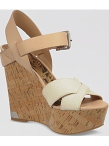 Platform Wedge Sandals Sasha - predominant colour: stone; occasions: casual, evening, holiday; material: leather; heel height: high; embellishment: buckles; ankle detail: ankle strap; heel: wedge; toe: open toe/peeptoe; style: strappy; finish: plain; pattern: plain