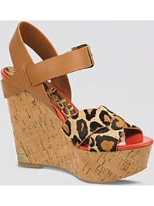 Platform Wedge Sandals Sasha - predominant colour: tan; occasions: casual, evening, holiday; material: leather; heel height: high; ankle detail: ankle strap; heel: wedge; toe: open toe/peeptoe; style: strappy; finish: plain; pattern: animal print
