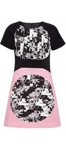 Cotton Stretch Panelled Printed Shift Dress - style: shift; length: mid thigh; sleeve style: raglan; back detail: contrast pattern/fabric at back; predominant colour: black; occasions: casual, evening, occasion; fit: soft a-line; fibres: cotton - stretch; neckline: crew; sleeve length: short sleeve; trends: modern geometrics; pattern type: fabric; pattern size: big & busy; pattern: patterned/print; texture group: jersey - stretchy/drapey