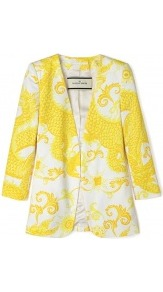 Anaise Cotton Printed Jacket - style: single breasted blazer; collar: shawl/waterfall; predominant colour: yellow; occasions: casual, evening, work, holiday; length: standard; fit: tailored/fitted; fibres: cotton - 100%; sleeve length: 3/4 length; sleeve style: standard; collar break: low/open; pattern type: fabric; pattern size: big &amp; busy; pattern: patterned/print; texture group: woven light midweight