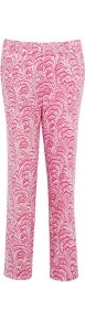 Pink Textured Silk Tapered Trousers - waist: mid/regular rise; predominant colour: hot pink; occasions: casual, evening, work, holiday; length: ankle length; fibres: silk - 100%; waist detail: narrow waistband; texture group: cotton feel fabrics; fit: slim leg; pattern type: fabric; pattern size: standard; pattern: patterned/print; style: standard