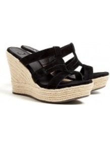 Black Tawnie Raffia Wedge Sandals - predominant colour: black; occasions: casual, holiday; material: suede; heel height: high; heel: wedge; toe: open toe/peeptoe; style: strappy; finish: plain; pattern: plain