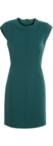Emerald Green New Recovery Cotton Fitted Dress - style: shift; length: mid thigh; sleeve style: capped; pattern: plain; waist detail: fitted waist; predominant colour: dark green; occasions: casual, evening; fit: body skimming; fibres: cotton - mix; neckline: crew; sleeve length: short sleeve; texture group: jersey - clingy; pattern type: fabric; pattern size: standard