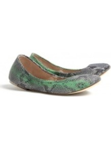 Cali Snake Print Ballet Pumps - predominant colour: light grey; occasions: casual, work; material: leather; heel height: flat; embellishment: elasticated; toe: round toe; style: ballerinas / pumps; finish: plain; pattern: animal print