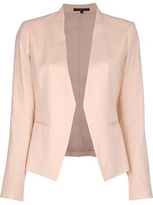 'Lanai Malaya' Blazer - pattern: plain; style: single breasted blazer; collar: shawl/waterfall; predominant colour: blush; occasions: evening, work, occasion; length: standard; fit: tailored/fitted; fibres: polyester/polyamide - stretch; waist detail: fitted waist; sleeve length: long sleeve; sleeve style: standard; trends: tuxedo; collar break: low/open; pattern type: fabric; pattern size: standard; texture group: woven light midweight