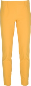 Tapered Trouser - pattern: plain; style: peg leg; waist: mid/regular rise; predominant colour: yellow; occasions: casual, evening, work, holiday; length: ankle length; fibres: nylon - mix; fit: tapered; pattern type: fabric; pattern size: standard; texture group: other - light to midweight