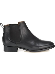 Chelsea Boot - predominant colour: black; occasions: casual, evening, work; material: leather; heel height: flat; embellishment: elasticated; heel: standard; toe: round toe; boot length: ankle boot; style: standard; finish: plain; pattern: plain