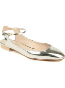 Angel Leather Pumps - predominant colour: gold; occasions: casual, evening, work, occasion; material: leather; heel height: flat; embellishment: buckles; ankle detail: ankle strap; toe: round toe; style: ballerinas / pumps; trends: metallics; finish: metallic; pattern: plain