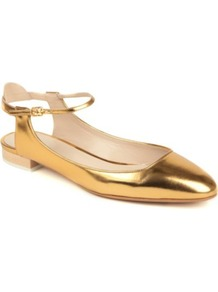 Angel Leather Pumps - predominant colour: bronze; occasions: casual, evening, work, occasion; material: leather; heel height: mid; embellishment: buckles; ankle detail: ankle strap; toe: round toe; style: ballerinas / pumps; trends: metallics; finish: metallic; pattern: plain