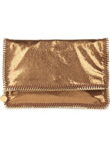 Falabella Clutch - predominant colour: gold; occasions: evening, occasion; type of pattern: standard; style: clutch; length: handle; size: small; material: leather; pattern: plain; trends: metallics; finish: metallic