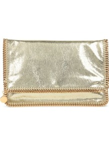 Falabella Clutch - predominant colour: gold; occasions: evening, occasion; type of pattern: standard; style: clutch; length: hand carry; size: small; material: suede; pattern: plain; trends: metallics; finish: metallic
