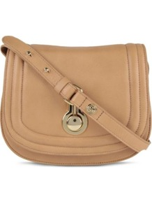 Ursula Saddle Bag - predominant colour: camel; occasions: casual, work; style: saddle; length: across body/long; size: small; material: leather; pattern: plain; finish: plain