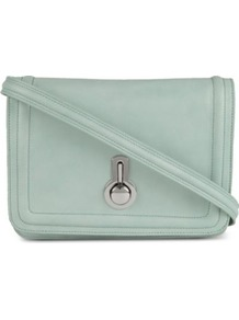 Janice Shoulder Bag - predominant colour: pale blue; occasions: casual, work; style: shoulder; length: across body/long; size: small; material: leather; pattern: plain; finish: plain