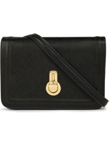 Janice Shoulder Bag - predominant colour: black; occasions: casual, evening, work, occasion; type of pattern: standard; style: shoulder; length: across body/long; size: standard; material: leather; pattern: plain; finish: plain