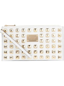 Pyramid Stud Zip Clutch - predominant colour: white; occasions: evening, occasion; type of pattern: standard; style: clutch; length: hand carry; size: standard; material: leather; embellishment: studs; trends: metallics; finish: plain; pattern: patterned/print