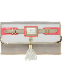 Neon Pink Tassel Front Clutch Bag - predominant colour: white; occasions: casual, evening, occasion, holiday; type of pattern: standard; style: clutch; length: hand carry; size: small; material: faux leather; pattern: plain; finish: plain; embellishment: chain/metal