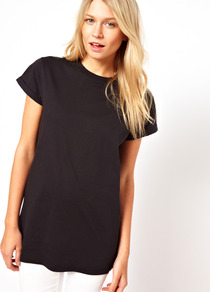 Boyfriend T Shirt With Crew Neck - pattern: plain; length: below the bottom; style: t-shirt; predominant colour: black; occasions: casual; fibres: cotton - 100%; fit: loose; neckline: crew; sleeve length: short sleeve; sleeve style: standard; pattern type: fabric; texture group: jersey - stretchy/drapey