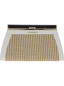 Weave Frame Clutch - predominant colour: stone; occasions: evening, occasion, holiday; type of pattern: standard; style: clutch; length: hand carry; size: oversized; material: macrame/raffia/straw; pattern: two-tone; finish: plain; embellishment: chain/metal