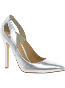 Populate Pointed High Heels - predominant colour: silver; occasions: evening, occasion; material: faux leather; heel height: high; heel: stiletto; toe: pointed toe; style: courts; trends: metallics; finish: metallic; pattern: plain