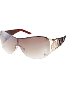 Victoria Visor Sunglasses - predominant colour: chocolate brown; occasions: casual, evening, work, holiday; style: novelty; size: large; material: plastic/rubber; embellishment: crystals; pattern: two-tone; finish: plain