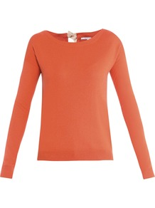 Darcie Sweater - neckline: round neck; pattern: plain; style: standard; predominant colour: bright orange; occasions: casual, evening, work; length: standard; fibres: silk - mix; fit: standard fit; back detail: keyhole/peephole detail at back; sleeve length: long sleeve; sleeve style: standard; texture group: knits/crochet; pattern type: knitted - fine stitch; pattern size: standard
