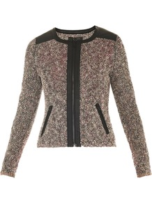 Lory Boucle Leather Trim Jacket - collar: round collar/collarless; style: boxy; shoulder detail: contrast pattern/fabric at shoulder; pattern: herringbone/tweed; predominant colour: chocolate brown; occasions: casual, evening, work; length: standard; fit: tailored/fitted; fibres: cotton - mix; waist detail: fitted waist; sleeve length: long sleeve; sleeve style: standard; collar break: high; pattern type: fabric; pattern size: small & light; texture group: woven light midweight