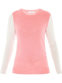 Shane Colour Block Cashmere Jumper - style: standard; shoulder detail: contrast pattern/fabric at shoulder; predominant colour: pink; occasions: casual, work; length: standard; fit: slim fit; neckline: crew; waist detail: fitted waist; fibres: cashmere - 100%; sleeve length: long sleeve; sleeve style: standard; texture group: knits/crochet; pattern type: knitted - fine stitch; pattern size: standard; pattern: colourblock