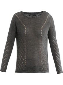 Downtown Pointelle Sweater - neckline: round neck; pattern: plain; style: standard; predominant colour: charcoal; occasions: casual, work; length: standard; fibres: linen - mix; fit: standard fit; sleeve length: long sleeve; sleeve style: standard; texture group: knits/crochet; pattern type: knitted - other; pattern size: standard