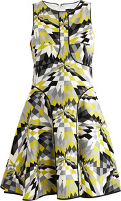 Isosceles Print Skater Dress - sleeve style: sleeveless; waist detail: fitted waist; predominant colour: yellow; occasions: evening; length: just above the knee; fit: fitted at waist &amp; bust; style: fit &amp; flare; fibres: silk - mix; neckline: crew; hip detail: soft pleats at hip/draping at hip/flared at hip; sleeve length: sleeveless; trends: fluorescent, modern geometrics; pattern type: fabric; pattern size: small &amp; busy; pattern: patterned/print; texture group: jersey - stretchy/drapey